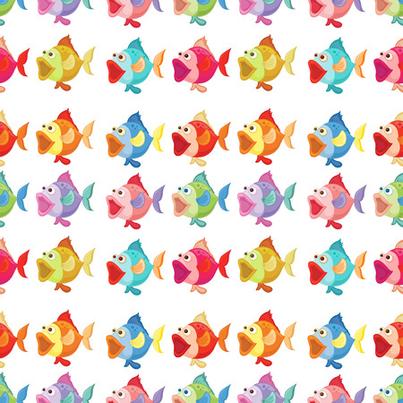 Illustration of a seamless design of fishes on a white background Illustration