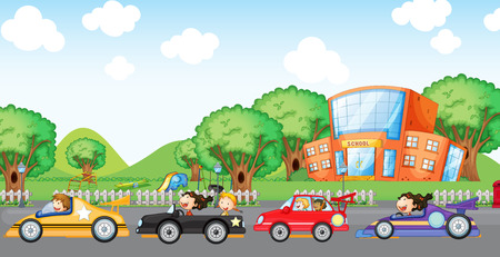 school playground: Illustration of the children car racing