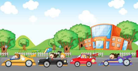 school playground: Illustration of the children car racing