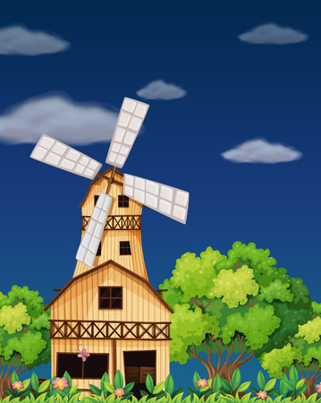 barnhouse: Illustration of a wooden barnhouse in the middle of the forest