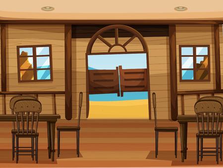 saloon: Illustration of a saloon bar