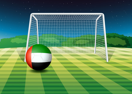 Illustration of a soccer ball at the field with the UAE flag Vector