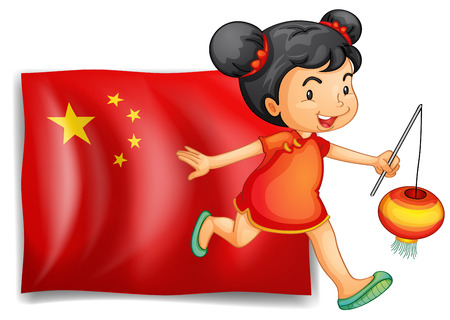 asian children: Illustration of the flag of China at the back of the young Chinese on a white background Illustration