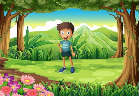 Illustration of a jungle with a smiling little boy Vector