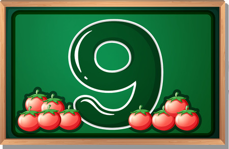 Illustration of a blackboard with nine tomatoes Vector