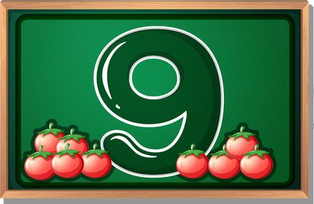 numeric: Illustration of a blackboard with nine tomatoes Illustration