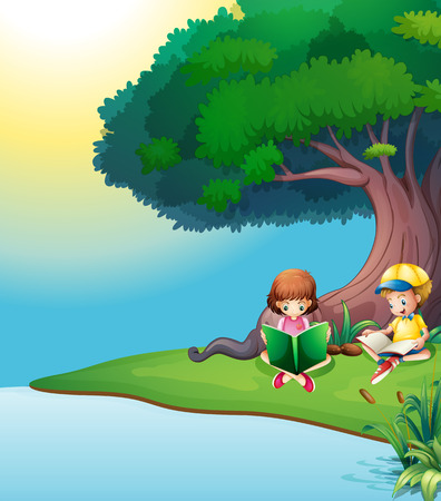 Illustration of a boy and a girl reading under the tree Vector