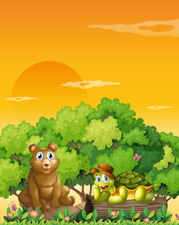 Illustration of a bear and a turtle at the forest Vector