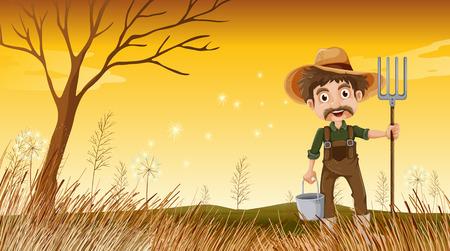 Illustration of a smiling old gardener Vector