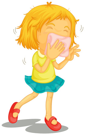 Illustration of a little girl with colds on a white background