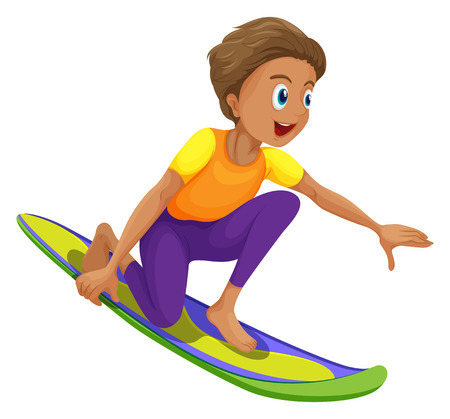 tights: Illustration of a boy surfing on a white background