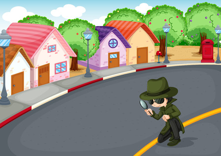 crime solving: Illustration of a detective at the road