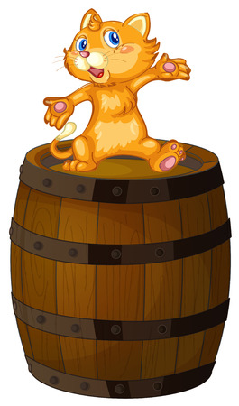Illustration of a wooden barrel with a cat on a white background Vector
