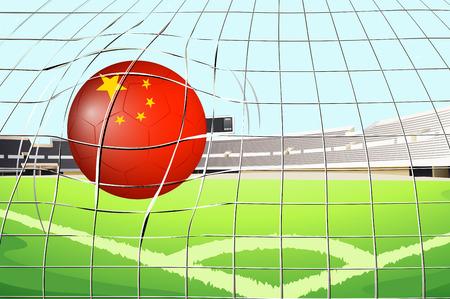 china flag: Illustration of a soccer ball at the field with the flag of China Illustration