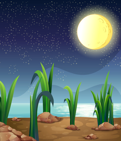 Illustration of a bright fullmoon Vector