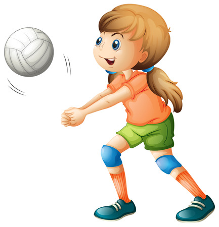 Illustration of a smiling girl playing volleyball on a white background