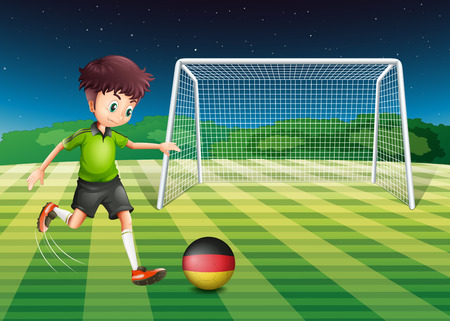 Illustration of a man at the field using the ball with the flag of Germany Vector