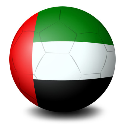 Illustration of a ball with the UAE flag on a white background Illustration