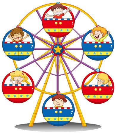 playmates: Ilustración de los niños felices de montar la noria sobre un fondo blanco
