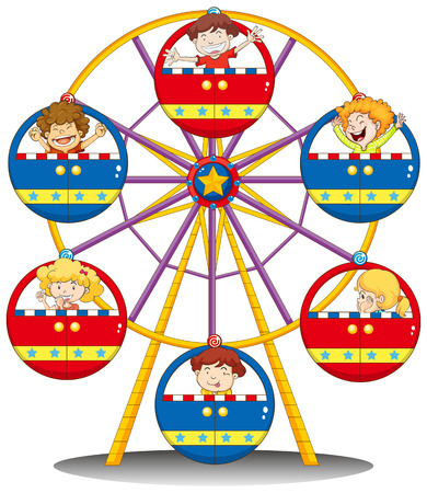 Illustration of the happy kids riding the ferris wheel on a white background Illustration