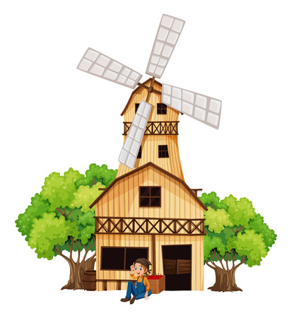 Illustration of a big wooden house with a windmill on a white background Vector