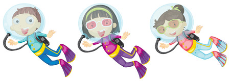 man underwater: Illustration of the three scuba divers on a white background