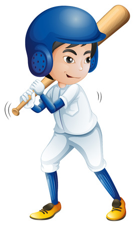 Illustration of a young baseball player on a white background Vector