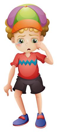 Illustratie van een jonge man huilen op een witte achtergrond Stock Illustratie