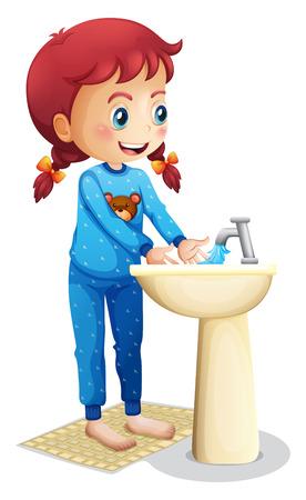 aseo personal: Ilustración de una niña linda se lava la cara en un fondo blanco
