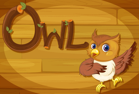 log wall: Illustration of a wooden frame with an owl Illustration