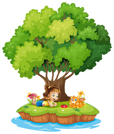 Illustration of an island with a girl and a cat on a white background Vector