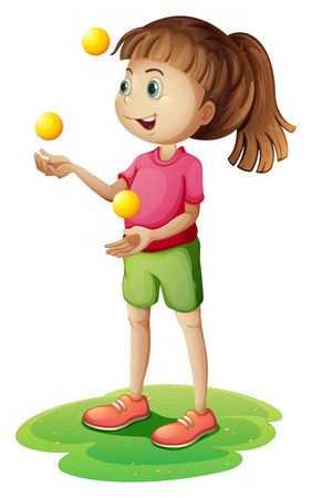 Illustration of a cute little girl juggling on a white background Vector