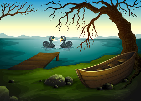 Illustration of a boat under the tree near the sea with two ducks Vector