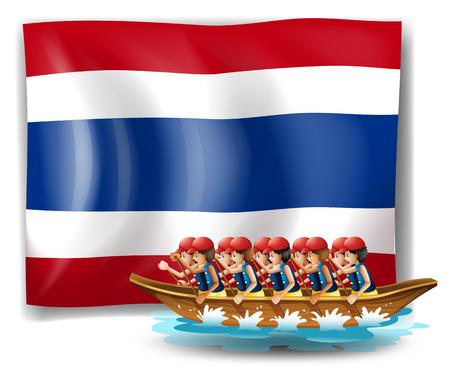 bateau de course: Illustration d'un bateau avec des hommes près du drapeau de la Thaïlande sur un fond blanc