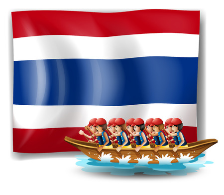 Illustration of a boat with men near the flag of Thailand on a white background Vector