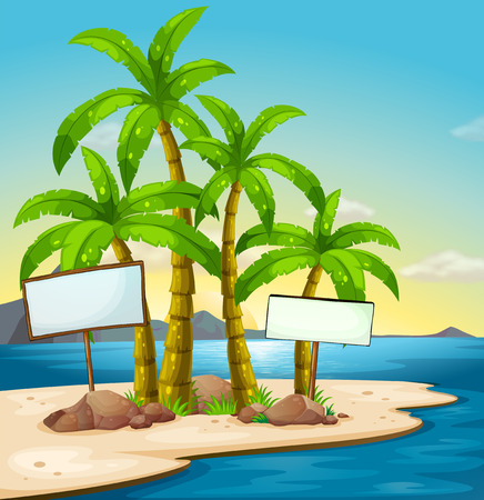 Illustration of an island with signboards Vector