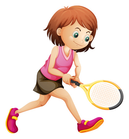 tennis skirt: Illustration of a cute little girl playing tennis on a white background