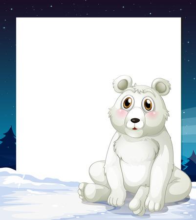 northpole: Illustratie van een lege sjabloon met een ijsbeer