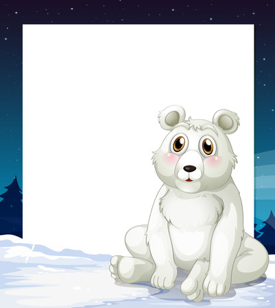 Illustration of an empty template with a polar bear Vector