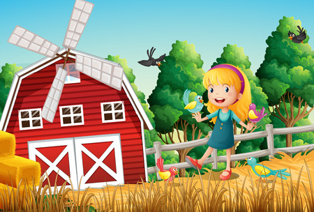 Illustration of a smiling little girl at the farm with the birds Illustration