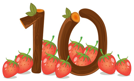 Illustration of the ten strawberries on a white background Vector
