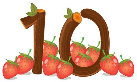 numero diez: Ilustración de los diez fresas sobre un fondo blanco