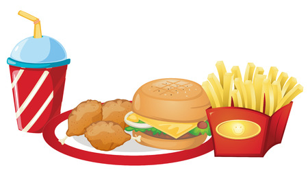 Illustration of the foods from the fastfood restaurant on a white background Vector