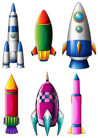 bombing: Illustratie van de verschillende raket ontwerpen op een witte achtergrond Stock Illustratie