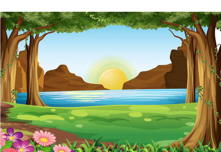 Illustration of a river at the forest Vector
