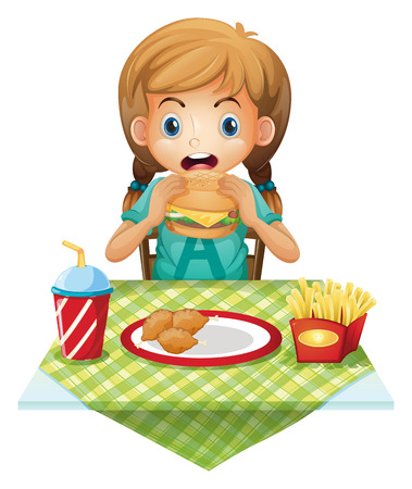 Illustration of a cute girl eating on a white background