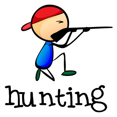 Illustration of a stickman hunting on a white background Vector