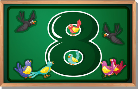 numeric: Illustration of a frame with eight birds