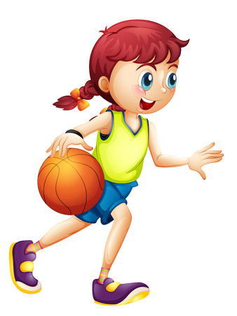 one girl: Illustration of a young girl playing basketball on a white background Illustration