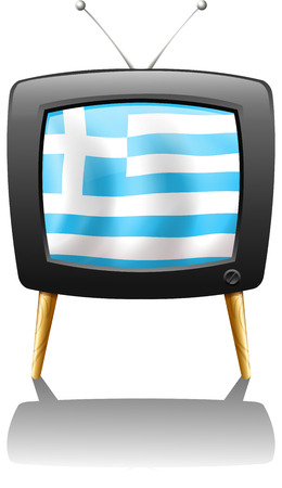 Illustration of a TV screen with the flag of Greece on a white background Vector